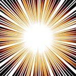 オレンジに光る効果線素材