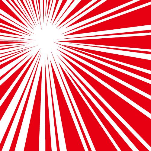 斜め上に向かう赤い効果線イラスト