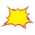 赤と黄色の痛々しい吹き出しイラスト素材