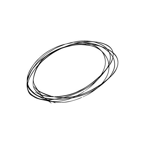 ラフな手描きの楕円