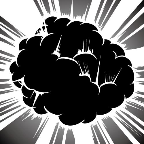 黒い爆発と効果線のイラスト