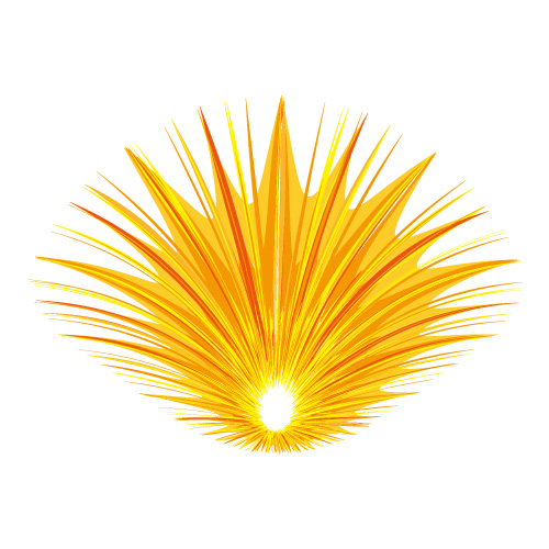 中央に落ちるようなオレンジ色の効果線