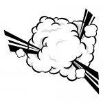 煙もくもくの爆発のイラスト