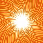 オレンジ色の吸い込まれそうな旋回した効果線イラスト
