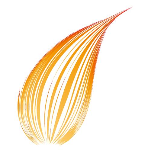 オレンジ色のアーチ状の効果線