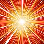 赤とオレンジ色の熱い感じの集中線