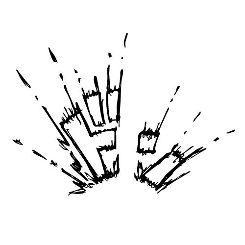 「ドン」と激しい効果音イラスト