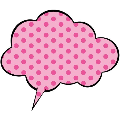 ピンク色の水玉のふわふわ系吹き出しのイラスト素材