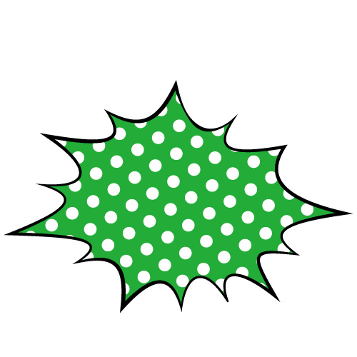 緑色の水玉のトゲトゲ系吹き出しのイラスト素材