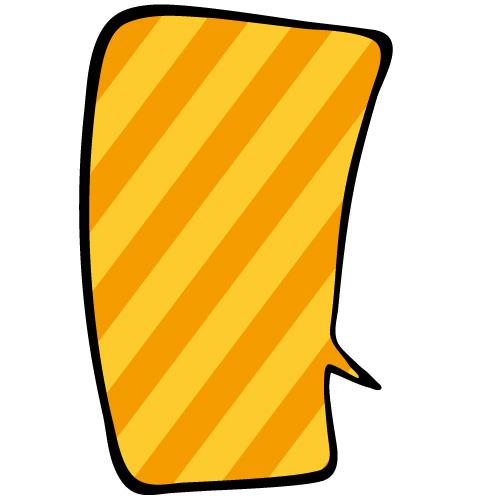オレンジ色斜線の四角い吹き出しのイラスト素材