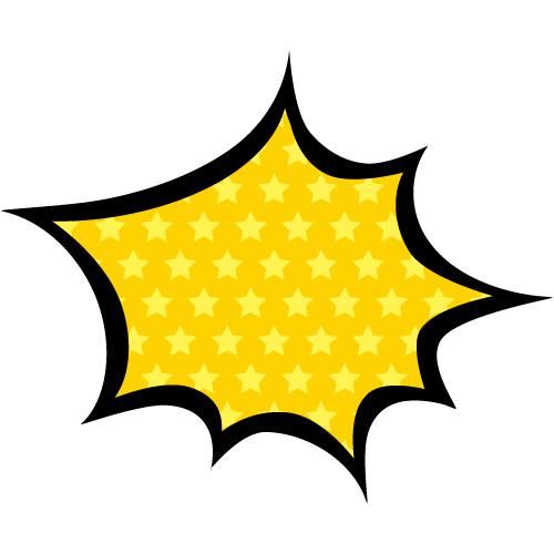 黄色の星柄のハジけた吹き出しのイラスト素材