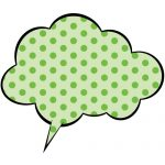 緑色の水玉のふわふわ系吹き出しのイラスト素材