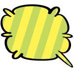 黄緑色斜線のやわらか系吹き出しのイラスト素材