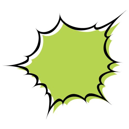 緑色のハジけた吹き出しのイラスト素材