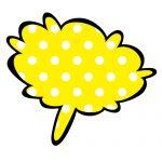 黄色の水玉のフワッとした吹き出しのイラスト素材