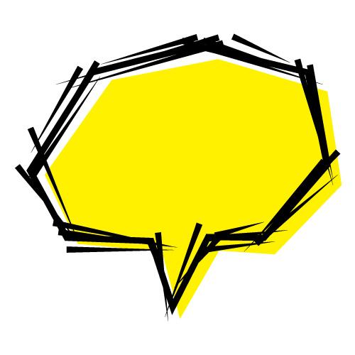 黄色の実況風の吹き出しのイラスト素材